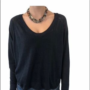 Theory Sweater Scoop Neck Sheer Navy Size Small